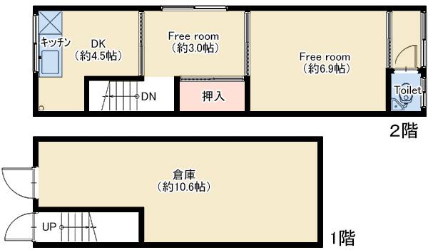 森ノ宮中道貸家C号室  仲介図面 (2)