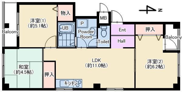 エスポアール201号室 仲介用図