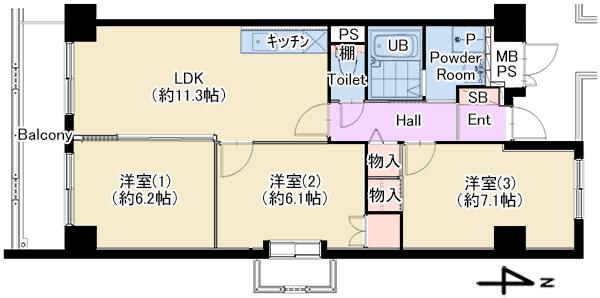 パティオ北加賀屋2701号室 仲介図面
