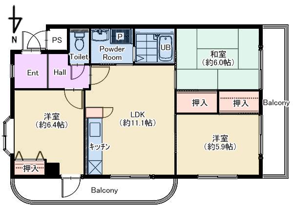 アルカディア武庫之荘305号室 仲介図面