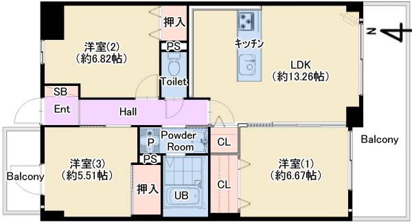 ウイング西緑丘211号室 仲介図面