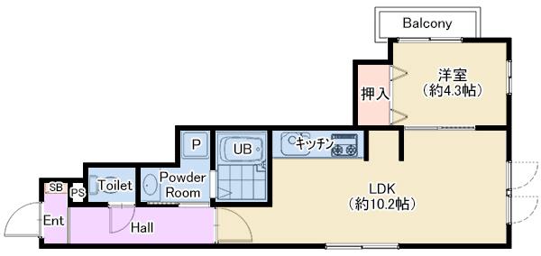 ラフテル東邸205号室 仲介図面