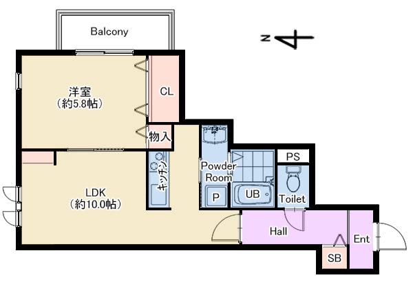 ラフテル西邸205号室 仲介図面
