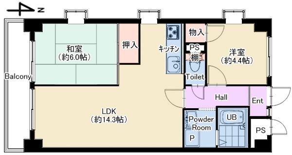 ピルティー本山405号室 仲介図面